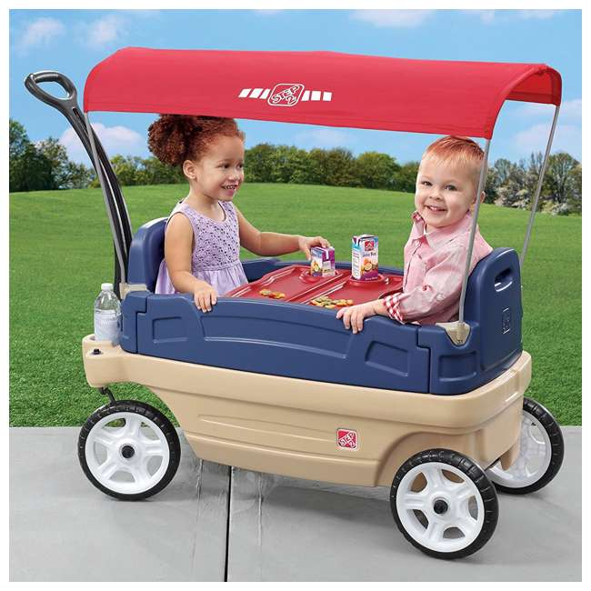 837200-U-A Step2 Whisper Ride Touring Wagon II 3-in-1 Toddler Outdoor Canopy Pull Wagon (Open Box) 1