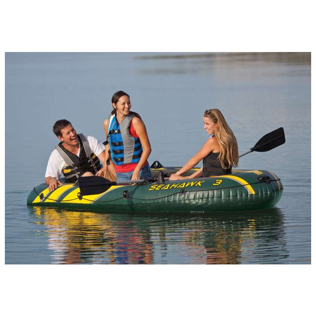 68380EP + 2 x 68631E Intex Seahawk 3 Inflatable raft Set and 2 Trolling Motors 3
