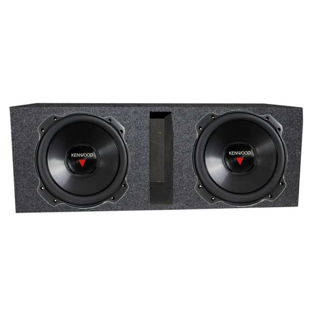 KFC-W3016PS + QBASS12 Kenwood 12-inch 2000 Watt Car Subwoofer (Pair) + Q Power Dual 12-inch Vented Port Sub Enclosure Box