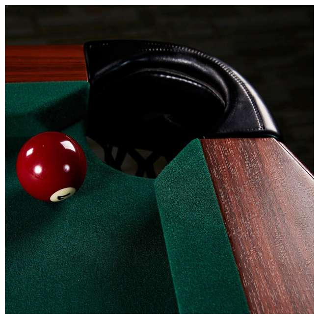 BLL090_128P Lancaster 90-Inch Full Size Green Pool Table w/ Leather Pockets, Cues, and Chalk 5