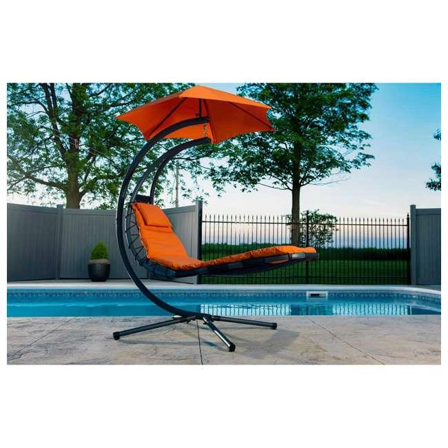 DREAM-OZ Vivere The Original Dream Lounger Steel Backyard Patio Deck Chair, Orange Zest 3