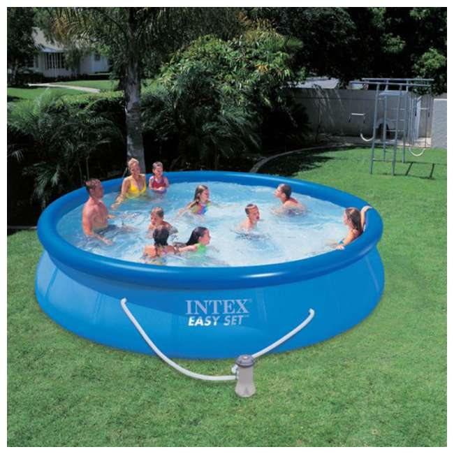 28210EH + 28637EG Intex 12 Foot x 30 Inch Above Ground Swimming Pool w/ Cartridge Filter Pump 6