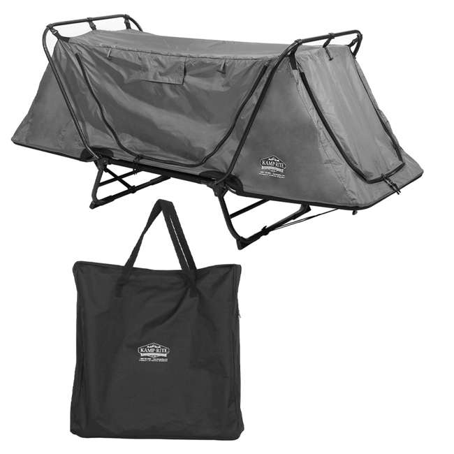 TC247 + KAMPGSB101 Kamp-Rite Original Tent Cot Folding Camping and Hiking Bed for 1 Person + Valuables Storage Bag