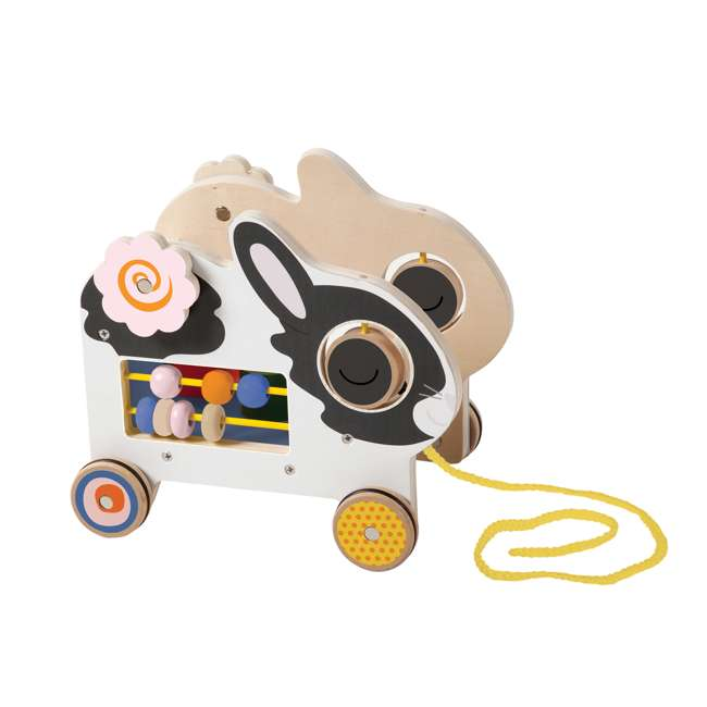 214240 Manhattan My Pal Clover Wooden Rabbit Pull Along Preschool Toddler Activity Toy 2