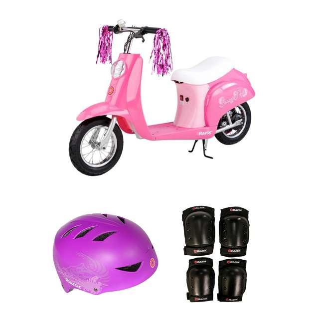 15130659 + 97973 + 96784 Razor Electric Retro Kids Scooter, Pink + Youth Sport Helmet + Elbow & Knee Pads