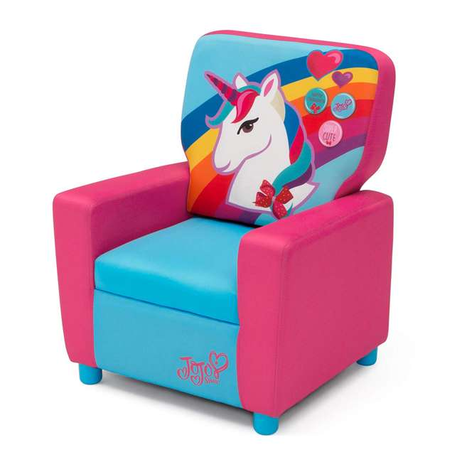 UP83637JS-1126 Delta Children Jojo Siwa High Back Upholstered Toddler Kids Chair, Pink/Blue 1