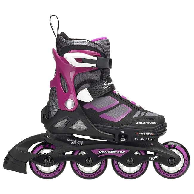 17849100N41-2-5 Rollerblade Spitfire XT Girls Adjustable Kids Inline Skates, Black and Pink 3
