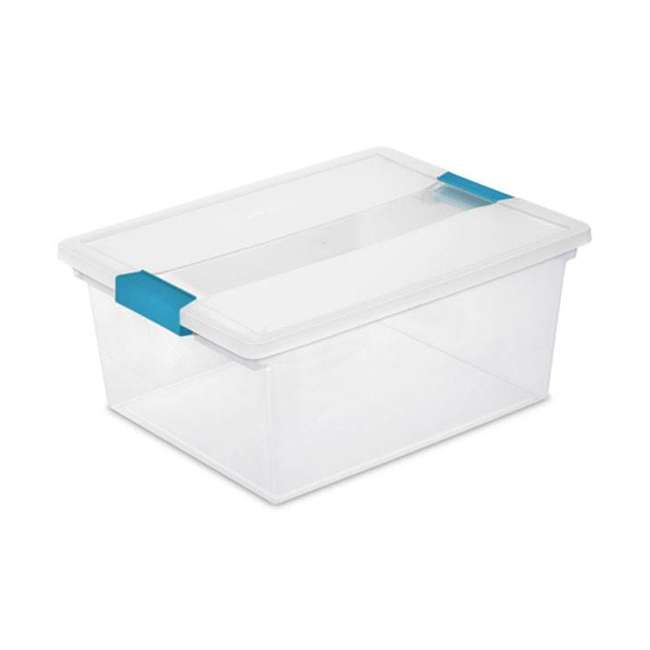 12 x 19658604-U-A Sterilite Deep File Clip Clear Storage Tote Container w/ Lid (Open Box)(12 Pack) 1