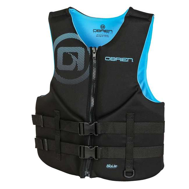 6 x 2181994-MW OBrien Traditional Men's Neoprene Life Vest Size S, Cyan (6 Pack) 1