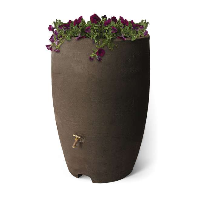 ALG-86312 Algreen Athena 50-Gallon Rain Water Collection Barrel, Brownstone 1