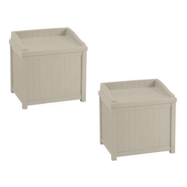 SS1000 Suncast 22-Gallon Outdoor Deck Box with Seat, Light Taupe (2 Pack)