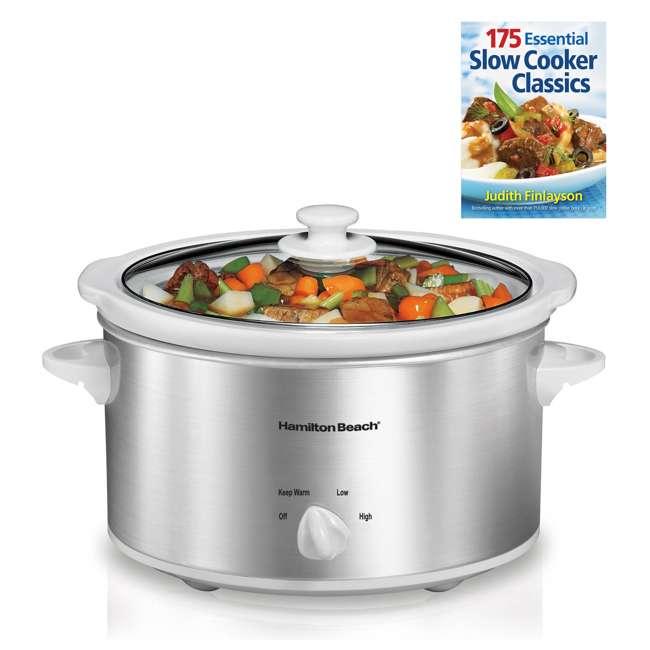 33140V + SLOWCOOKER175 Hamilton Beach Counter Top 4 Quart Oval Slow Cooker Pot & 175 Recipe Cookbook