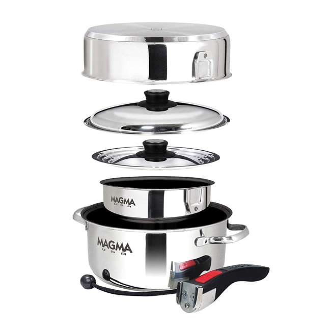 A10-363-2-IND Magma Products 7 Piece Nested Stainless Steel Non Stick Oven Safe Cookware Set 1