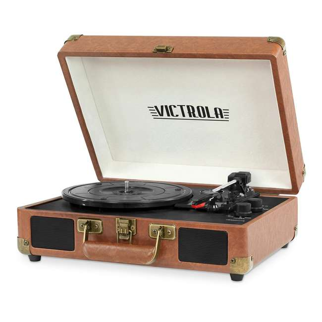 VSC-550BT-BRW Victrola 3-Speed Bluetooth Suitcase Record Player, Brown 1