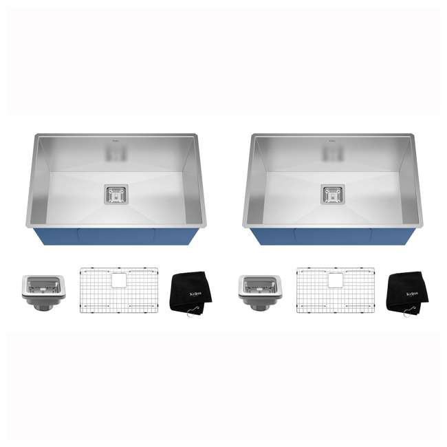 KHU29 Kraus Pax 28-Inch Rectangular Undermount Stainless Steel Kitchen Sink (2 Pack)
