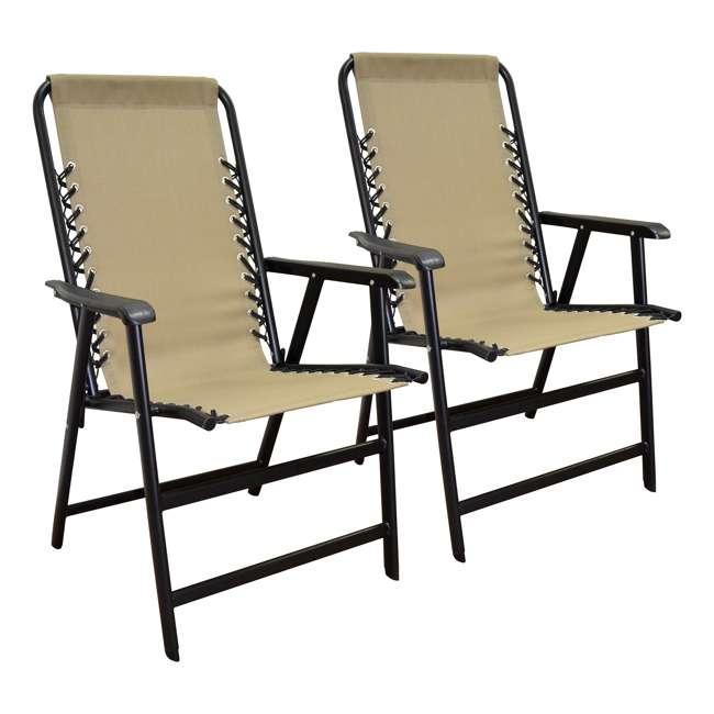 CVAN80012000152-2PK Caravan Canopy Infinity Suspension Folding Chair, Beige (2 Pack)