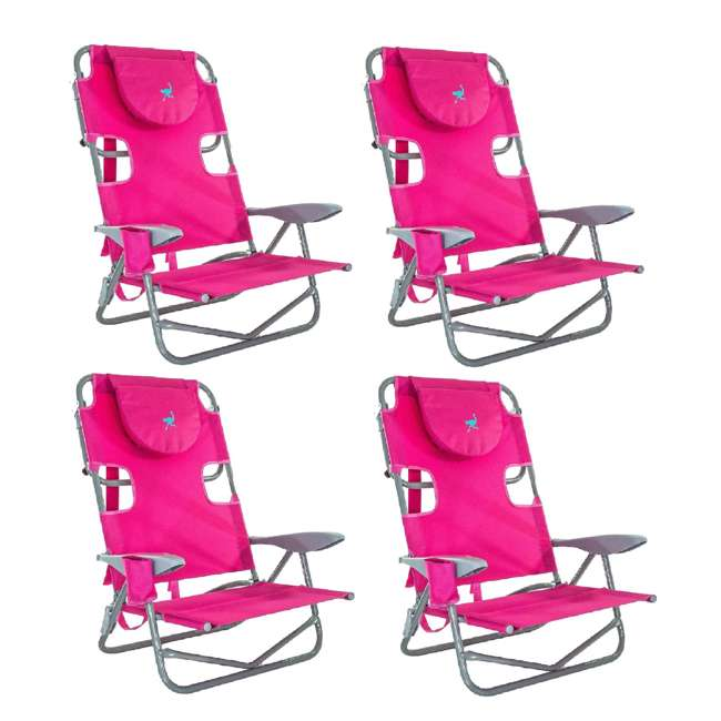 4 x OYB-1003P Ostrich On-Your-Back Outdoor Lounge 5 Position Reclining Beach Lake Chair 4 Pack
