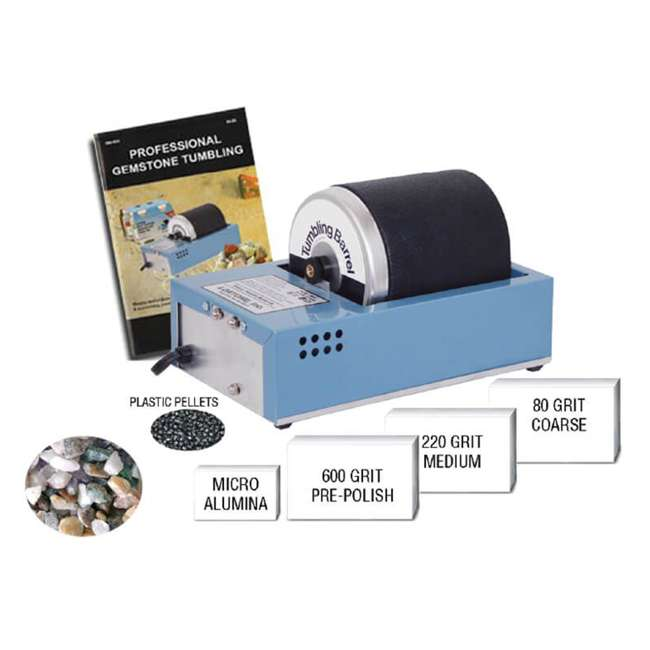 1-0609RK Lortone 081-091 3A 3 Lb Hobby Rotary Rock Polisher Tumbler, Polish Kit, & Rocks 8