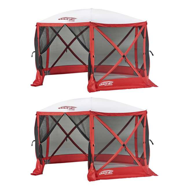 CLAM-ESS-14200 QuickSet Escape 11.5-Foot 8-Person Tailgating Tent, Red (2 Pack)