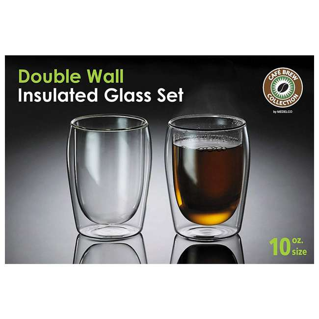 4-CUP-10OZ-2 Medelco 4-CUP-10OZ-2 Cafe Brew 10 Oz Double Wall Dishwasher Safe Glasses Set 1