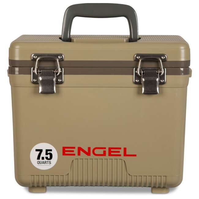 UC7T Engel 7.5-Quart EVA Gasket Seal Ice and DryBox Cooler with Carry Handles, Tan