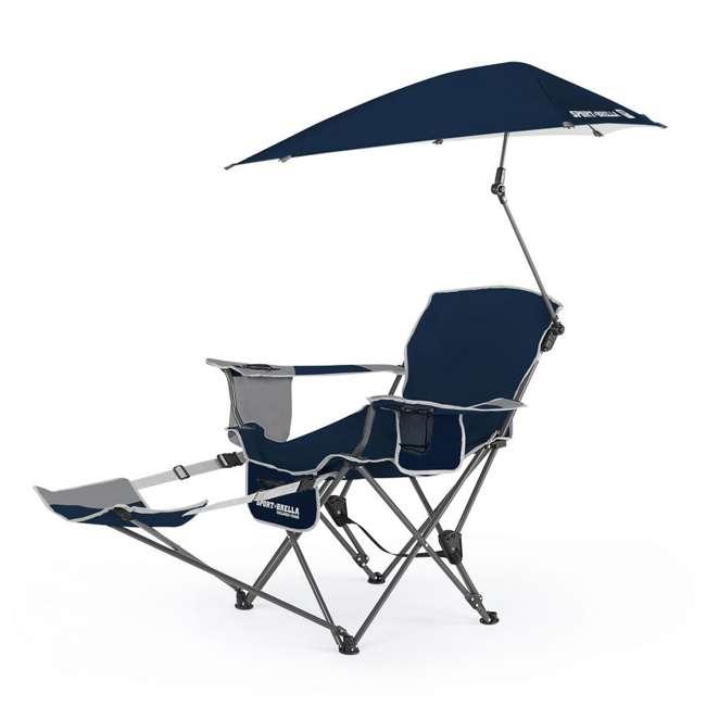 BRE03-615-01 Sport-Brella Umbrella Recliner Folding Chair, Blue