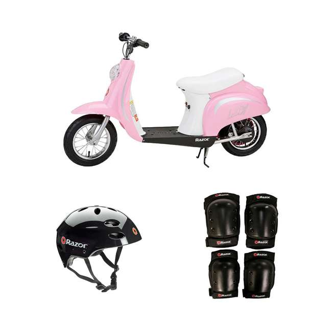 15130610 + 97778 + 96785 Razor Pocket Mod Electric Retro Scooter + Youth Sport Helmet + Elbow & Knee Pads