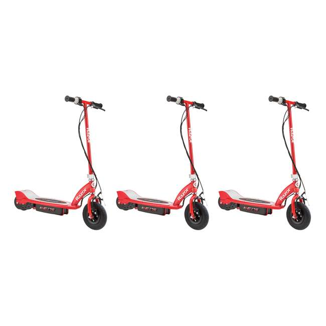 3 x 13111259 Razor E175 Kids Ride On 24V Motorized Battery Powered Scooter Toy, Red (3 Pack)