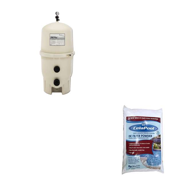 180008 + CPOOL6VFP132GMAGBX Pentair FNS Plus In-Ground Swimming Pool Filter w/ CelaPool DE Filter Powder