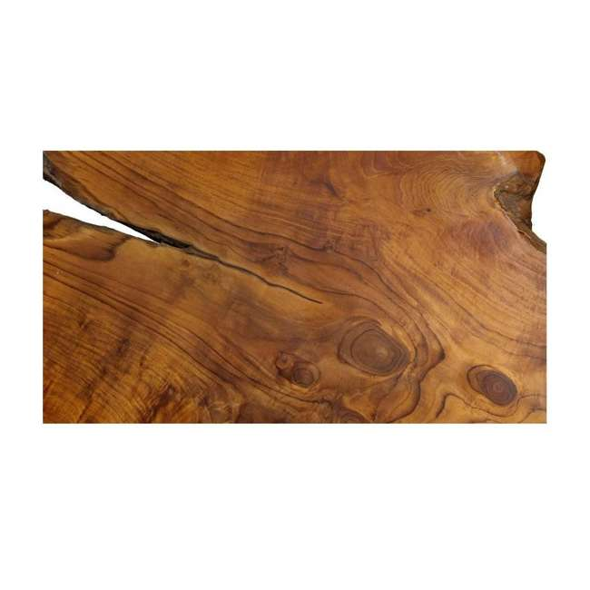 SC-IDW82658-U-D Natural Wood Edge Teak Coffee Cocktail Table with Clear Lacquer Finish (Damaged) 2