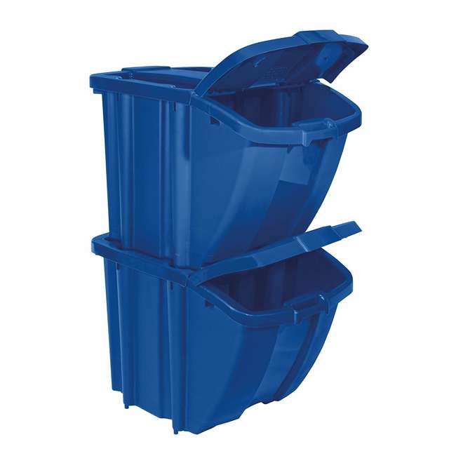 BH18GRN2 + BH18BLUE2 Suncast Stackable Recycling Containers with Lids, Green (2 Pack) & Blue (2 Pack) 2