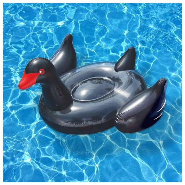 90628 Swimline Giant Inflatable Ride-On 75-In. Black Swan Pool Float(Open Box)(2 Pack) 2