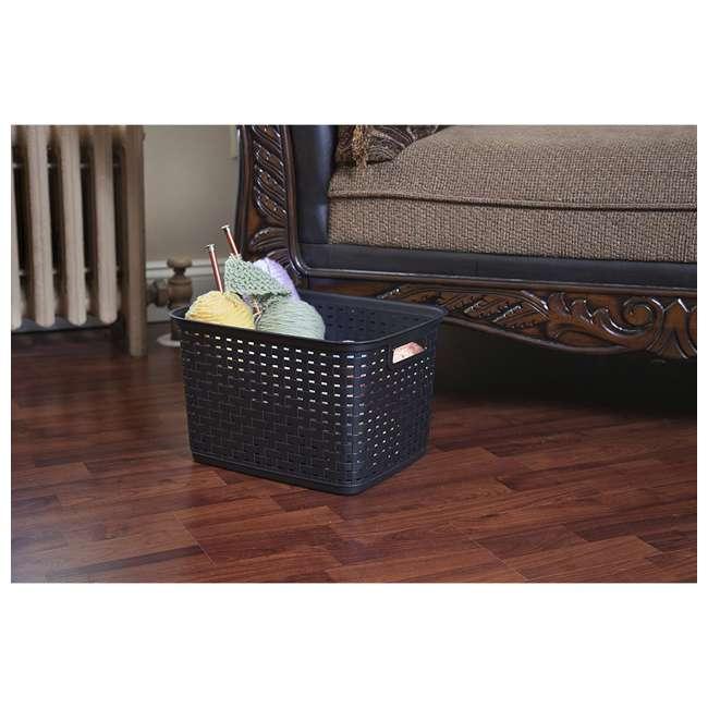 6 x 12736P06-U-A Sterilite Tall Wicker Weave Plastic Laundry Basket, Brown (Open Box) (6 Pack) 2