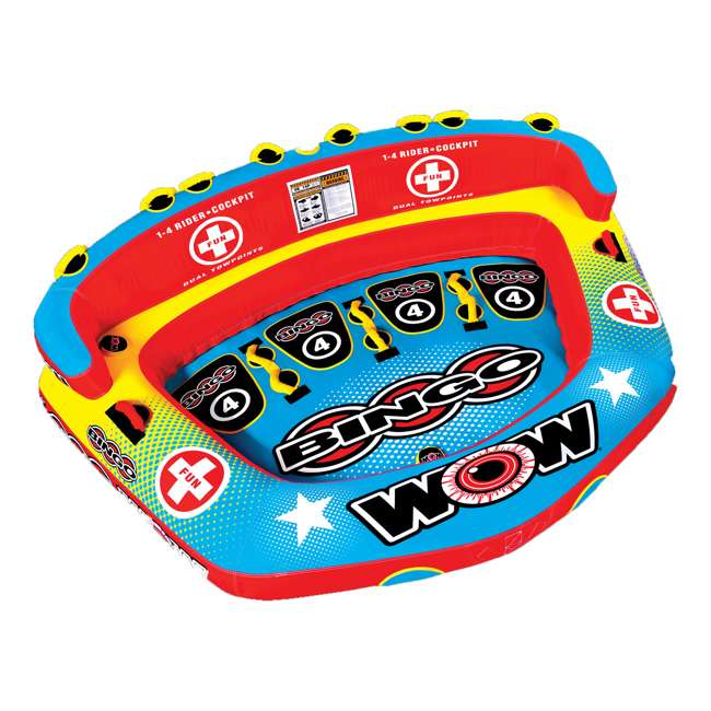 14-1080 Wow Bingo 2 Inflatable 2 Person Seating Ride Cockpit Towable Water Sports Tube  5