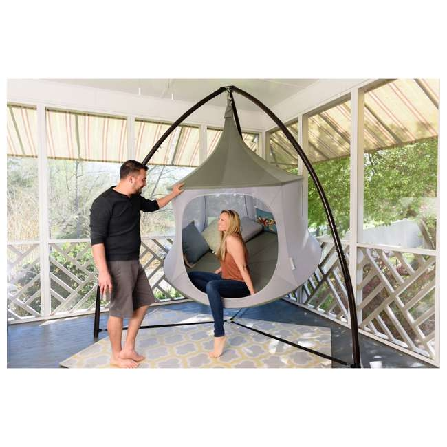 TP1500SB + TP9150 TreePod Cabana 5-Foot Hanging Mesh Daybed with Canopy, Slate Blue w/Bug Net 3