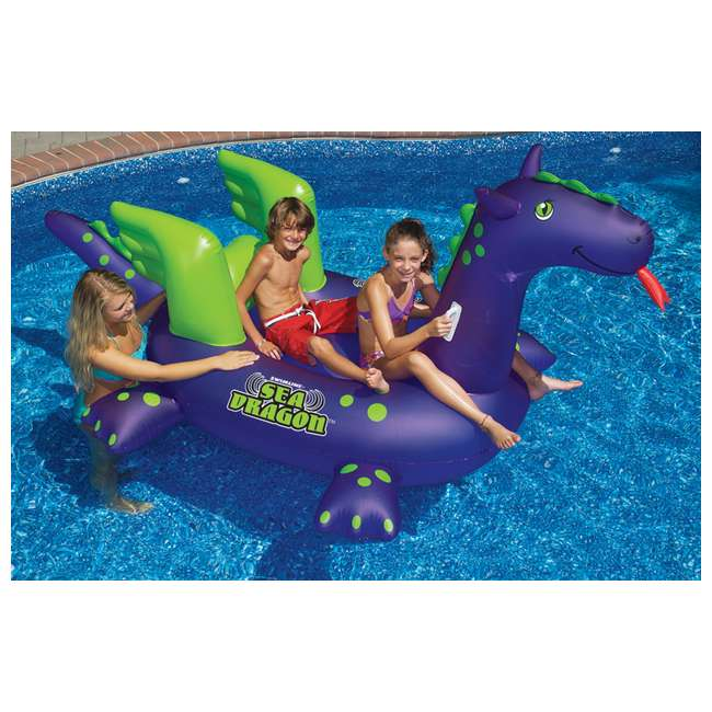 4 x 90625-U-A Swimline Swimming Pool Kids Rideable Sea Dragon Inflatable Toy(Open Box)(4 Pack)