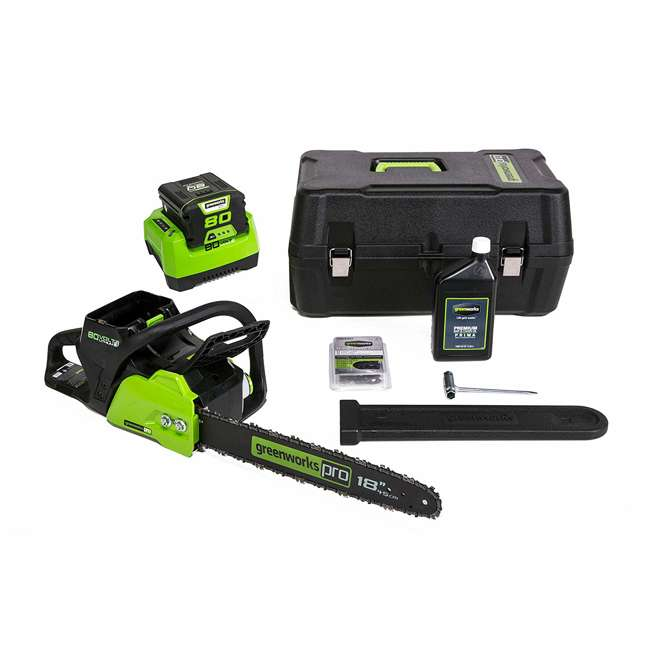GW-2004602 Greenworks 18 Inch 80 Volt Cordless Chainsaw with Case, Extra Bar, and Chain Oil