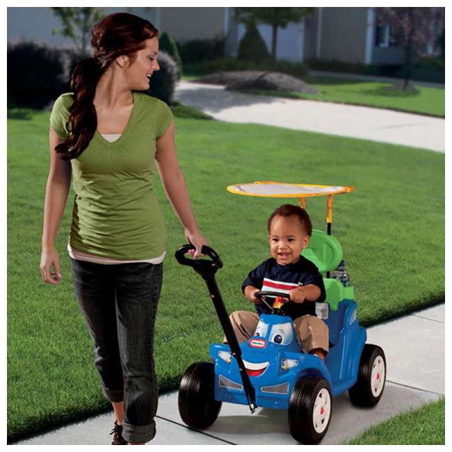622069MP Little Tikes Deluxe 2 in 1 Cozy Roadster Toddler Kids Push Car Ride On Toy, Blue 5