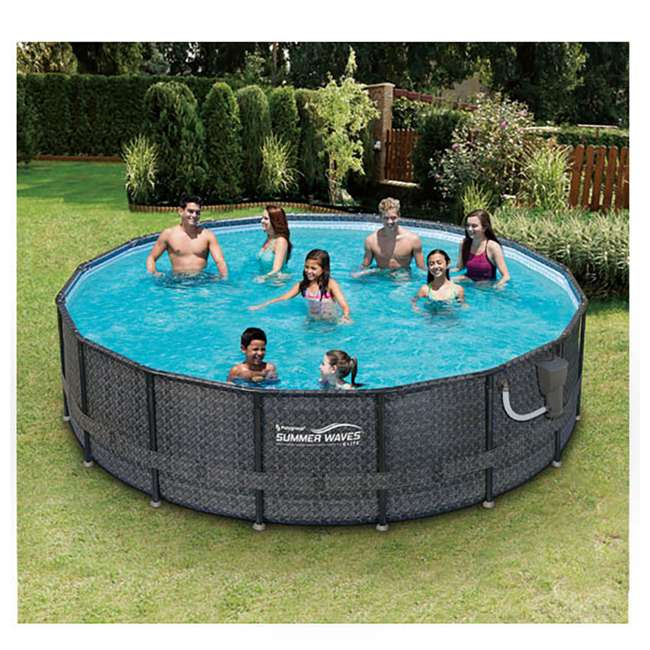Summer waves elite 16 39 x 48 above ground frame pool set - Summer waves pool ...