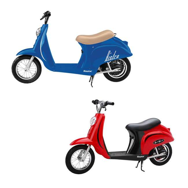 15130641 + 15130656 Razor Pocket Mod Miniature Electric Scooters, 1 Blue & 1 Red