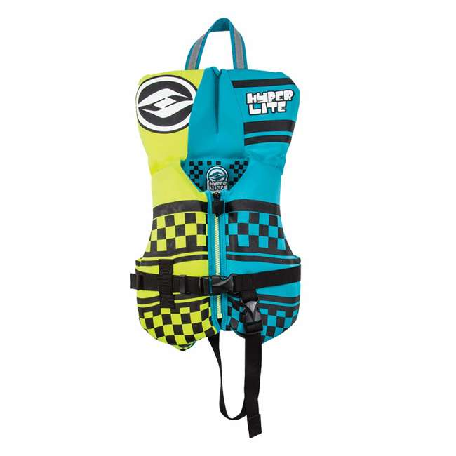 86015101-HO Hyperlite 86015101-HO Toddler Indy Life Vest with Head Rest, Blue and Green