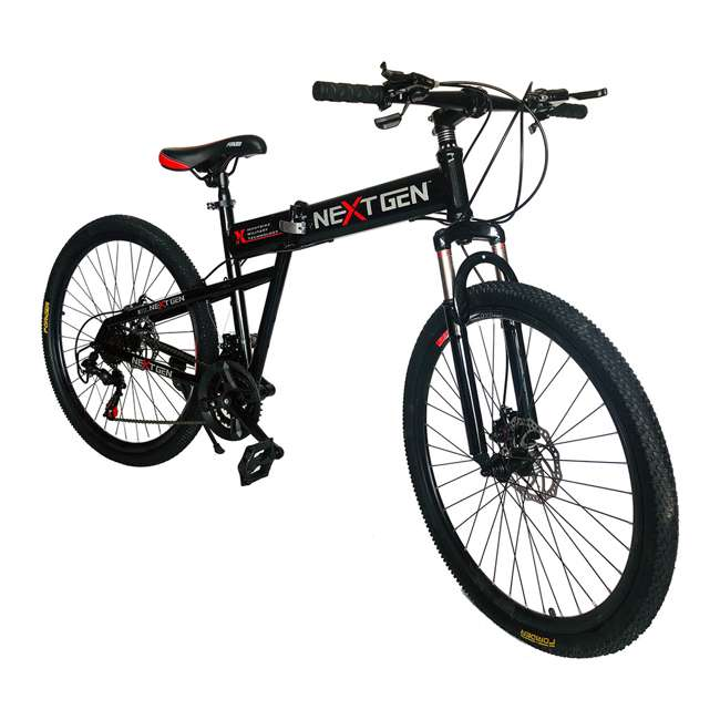 "MTB011-BLK NextGen 26"" 21 Speed Shimano Foldable Hardtail Downhill Mountain Bike, Black 1"