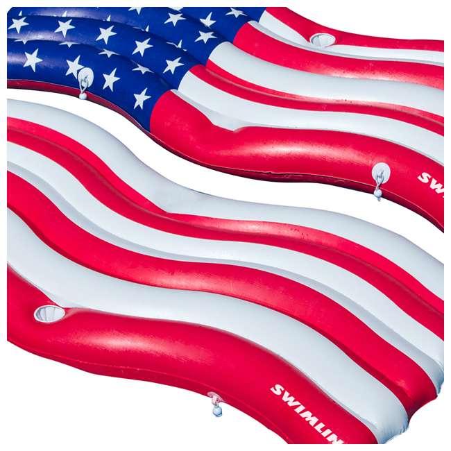 4 x SL-90346-U-A Swimline American Flag Inflatable Swimming Pool Mattress Set (Open Box) (4 Pack) 1