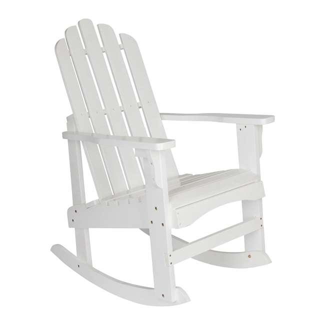 4698WT Shine Company Weather Resistant Cedar Wood Marina Porch Rocking Chair, White 3
