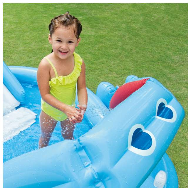 57150EP Intex 87in x 74in x 34in Inflatable Hippo Play Kids Pool Slide And Sprayer(Used) 4
