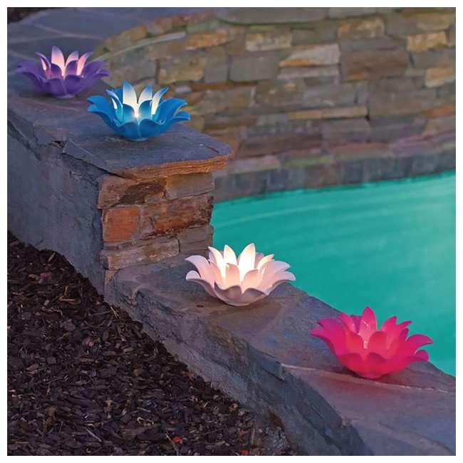 54513-U-B Poolmaster 9.75 Inch Floating Lotus Blooms Flower Pool Lights (4 Pack) (Used) 5