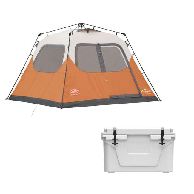 2000017933 + 2A-CM002W Coleman 6-Person Camping Instant Tent and Uriah Products Cooler