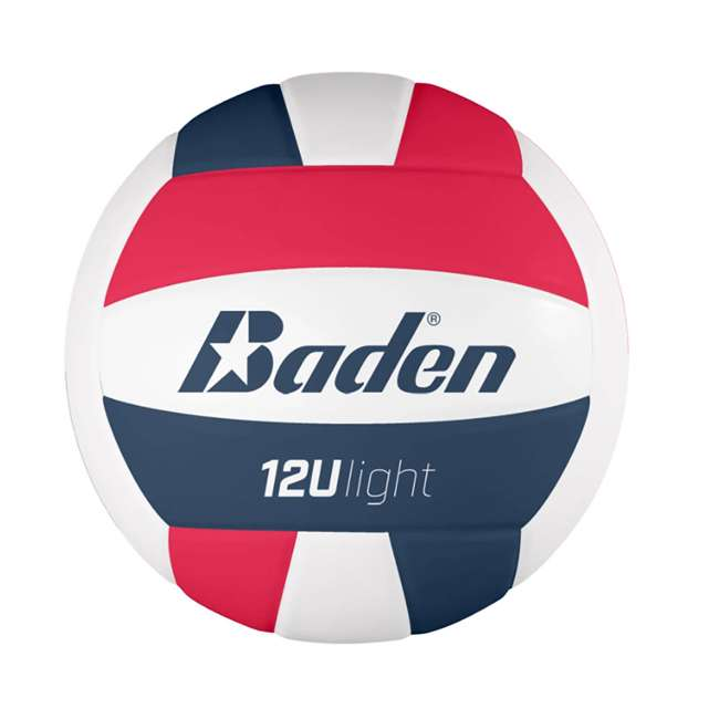 VX450L-03B-F6 Baden Light Microfiber Training Volleyball for Players 12&U, Red, White, & Blue
