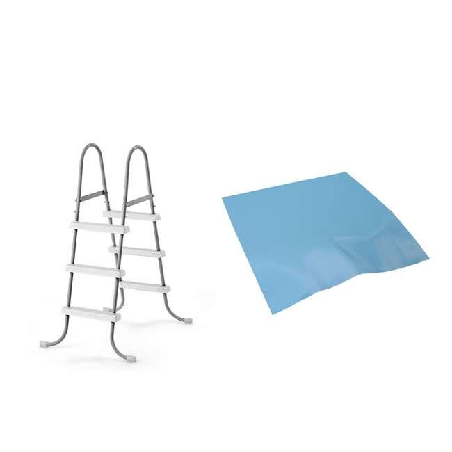 28065E + 87956 Intex Above Ground Steel Frame Swimming Pool Ladder + Pool Ladder Step Pad