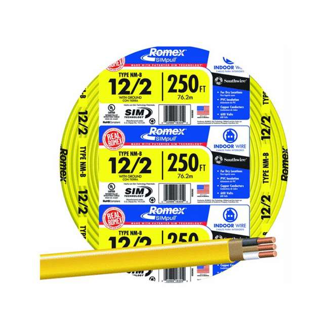 28828255 Southwire Romex SIMpull 600 Volt 12-2 Type NM-B Sheathed Residential Wire Cable